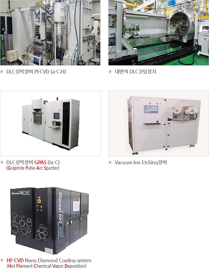 DLC성막장비 PECVD (a-C:H),DLC성막장비 GPAS (ta-C)(Graphite Pulse Arc Sputter),Vacuum Ion Etching장비,HF-CVD Nano Diamond Coating system,(Hot Filament Chemical  Vapor Deposition)